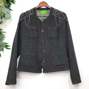 Vintage Gray Chain Shoulder Wool Blend Blazer